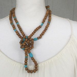 "60"" Brown And Blue Wooden Beads Necklace"